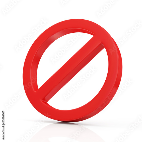 Foto op Aluminium Pixel Red Forbidden Symbol isolated on white background