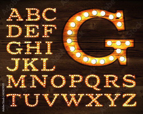 Photo  Vector of letters in retro style old lamp alphabet for light