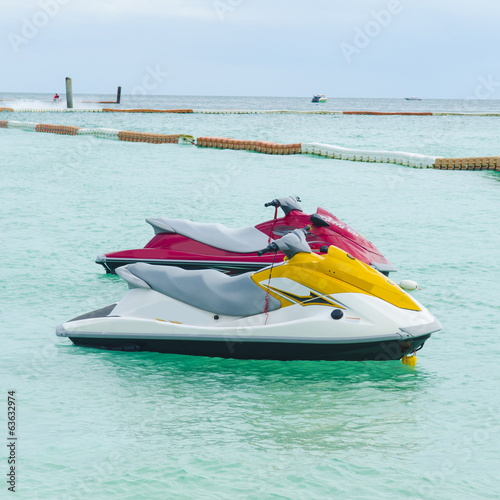 Poster Nautique motorise Jet ski on Paradise Island