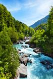 Fototapeta Fototapety z naturą - Vivid Swiss landscape with  pure river stream