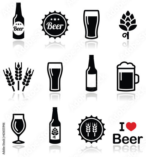 Photo Beer vector icons set - bottle, glass, pint