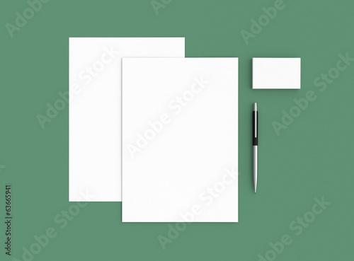 Papier Visitenkarte Brief Mit Stift Hintergrund Grün Buy