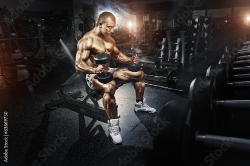 Fotografie, Tablou  Athlete in the gym training with dumbbells