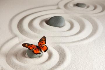 Fototapeta na wymiar Zen rocks with butterfly