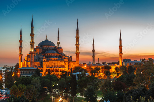 Photo  Blue Mosque in Istanbul, with sunset