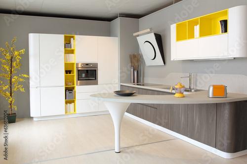 Fotodibond 3D Nowoczesna kuchnia w kolorze białym i żółtym