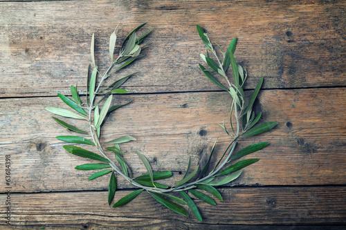 Tuinposter Olijfboom Olive tree wreath