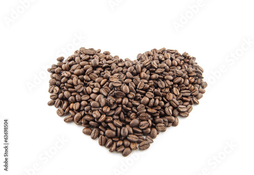 Canvas Prints Coffee beans Coffee beans on a white background