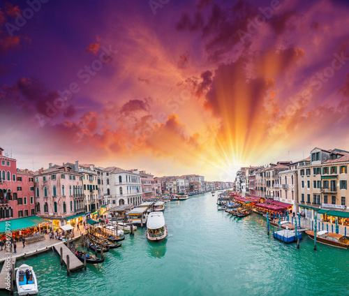 Venice. View of Grand Canal at dusk from Rialto Bridge