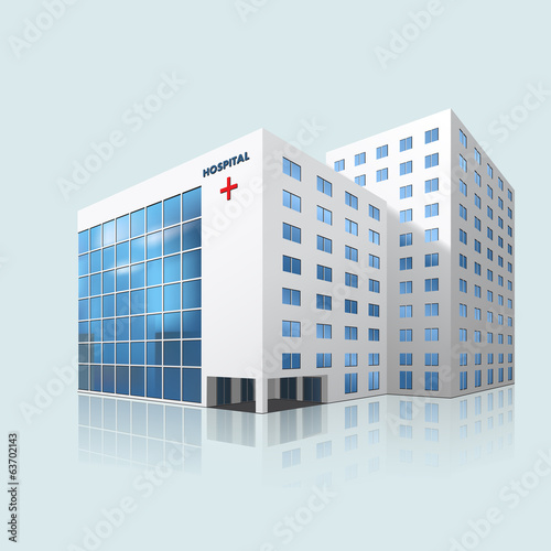 Fotografie, Obraz  city hospital building with reflection