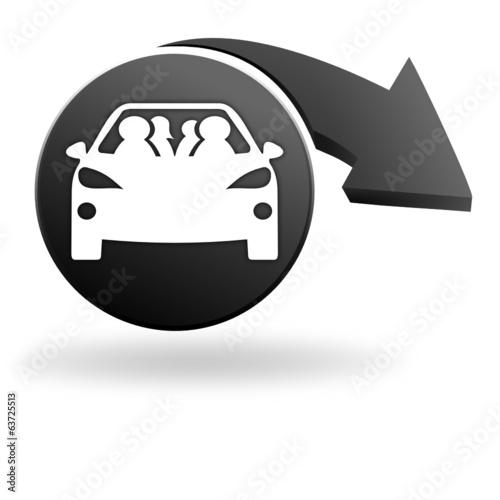 Poster Cars covoiturage sur symbole noir