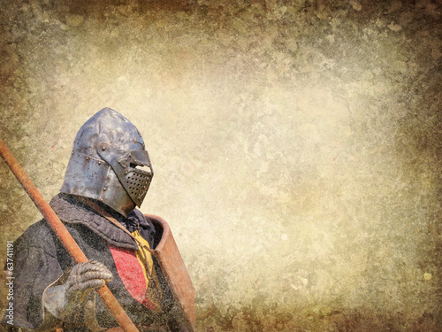 Fotomural Armored knight - retro postcard