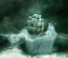 Old Ship In A Thunderstorm