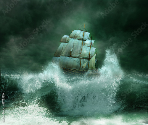 Deurstickers Schip old ship in a thunderstorm