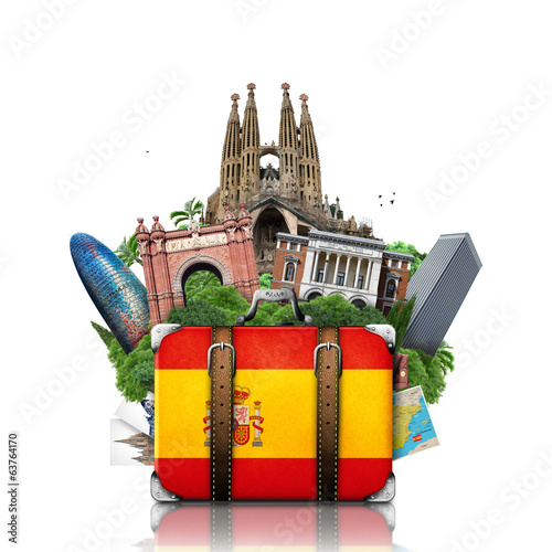 Fotografie, Obraz  Spain, landmarks Madrid and Barcelona,  travel suitcase