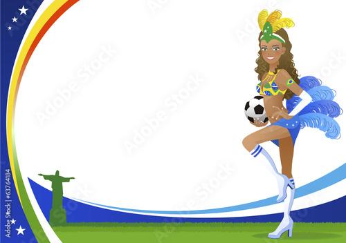 Fotografie, Obraz  ブラジル サッカー 女性 Brazilian dancer  and Christ the Redeemer