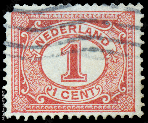 Photo  Netherlands Stamp Numeral 1 Cent