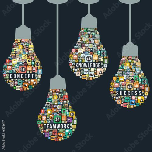 Fotografía  Light bulb design from icons infographics, vector format