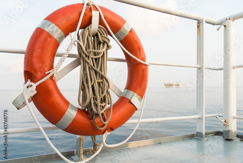 lifebuoy in supply boat on the sea