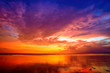 canvas print picture - Sunset over Bali as seen from Gili island, Indonesia