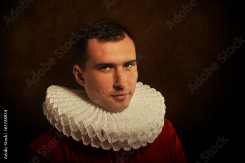 Antique style portrait of a man in ruff collar Canvas Print