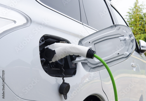 Photo  Electric Car Being Charged