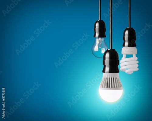 Photo  hanging tungsten light bulb, energy saving and LED bulb