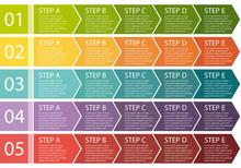 Flat Design. Process Arrows Boxes Set. Five Steps.