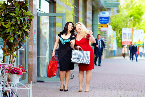 Photo  happy plus size women shopping