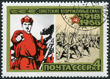 USSR - 1968: Shows 1918 Poster And Marching Volunteers