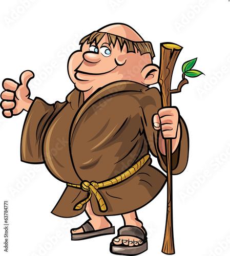Obraz na plátne Cartoon monk holding a stick