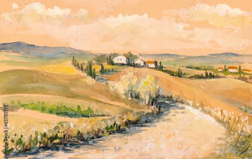 krajobraz-toskanii-akwarele