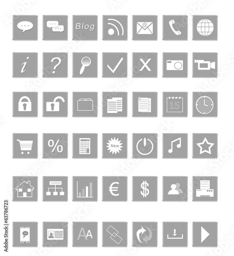 Set Of Icons For The Web In Gray Colors
