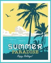Summer Beach Palm Tree Vector ...