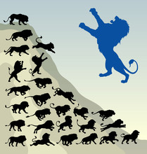 Running Lion Silhouettes. Easy To Use