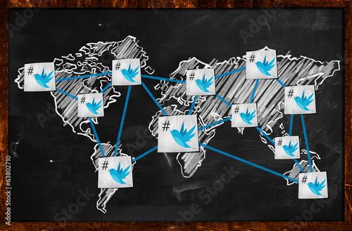 Obraz World twitter Connection on Blackboard - fototapety do salonu