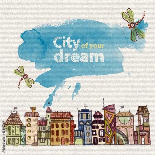 decorative sketch of city