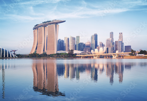 Acrylic Prints Singapore Singapore skyline at sunrise.