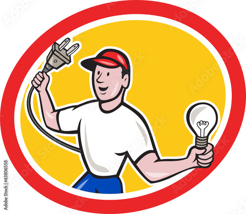 Canvas Prints Fairytale World Electrician Holding Electric Plug and Bulb Cartoon