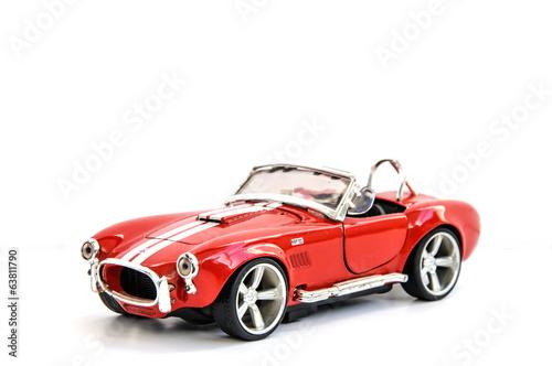 Photo  Miniature of retro red car (die cast)