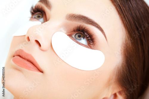 Cosmetic Treatment. Woman Eye with Long Eyelashes. Eyelash Exten Tablou Canvas