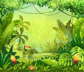 Fototapeta llustration with flowers and jungle toucan