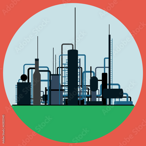 Poster Turquoise Oil refinery flat vector illustration