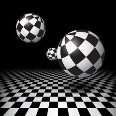 FototapetaMagic balls over the checkered floor