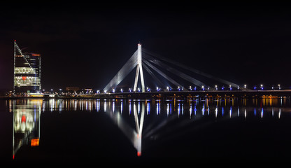 Night panorama of Daugava River, Riga, LAtvia