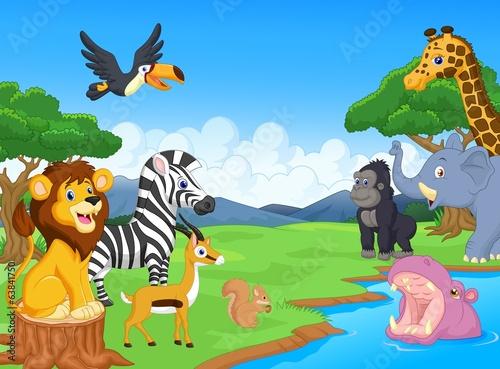 sliczne-afrykanskie-safari-zwierzat-kreskowek-scen