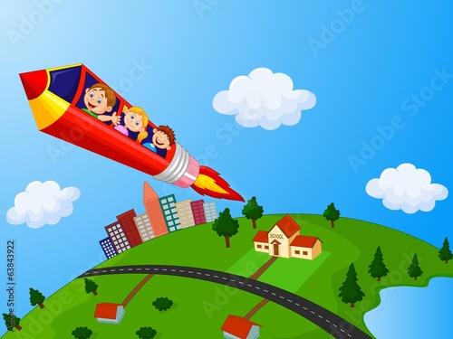 School Children Enjoying Pencil Rocket Ride