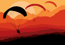 Paragliding Vector Background ...
