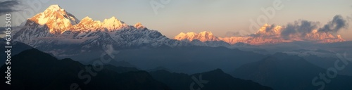 Wall Murals Nepal Evening panoramic view of mount and Annapurna