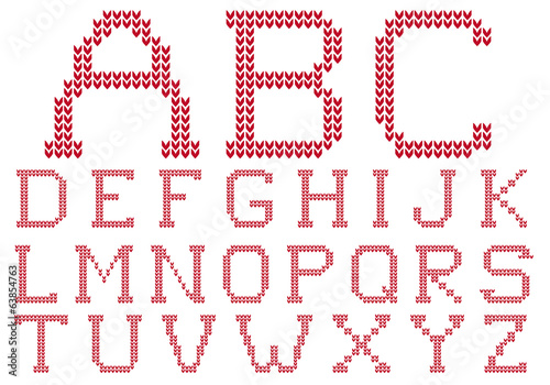 knited alphabet, vector set